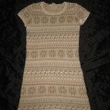 9-10 лет, тёплое нежное вязаное платье с ангоркой и люрексом