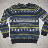 9-10 лет, классный хлопковый свитер с орнаментом мальчику