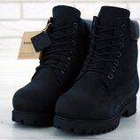 Черные демисезонные ботинки унисекс без меха timberland
