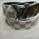 Ремень светло-серый в стиле Louis Vuitton, Луи Виттон, унисекс