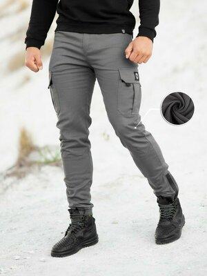 Теплые Карго Штаны Спортивные на Флисе мужские зимние брюки джоггеры