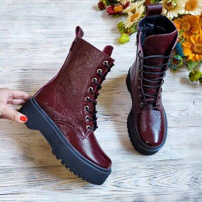 Крутые натуральные кожаные женские ботинки