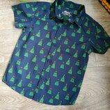 Рубашка новогодняя ёлки на 3-4г.р.104