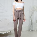 Женские шикарные брюки с высокой талией Панни костюмная ткань скл.10 арт.160