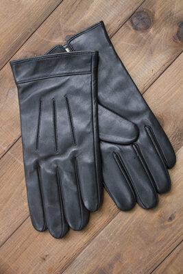 Мужские сенсорные зимние перчатки, кожа ., черные