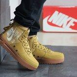 Nike Air Force 1 кроссовки мужские демисезонные горчичные 8450