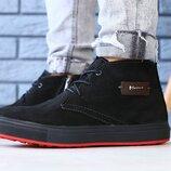 Ботинки мужские, натуральный нубук, зимние, черные