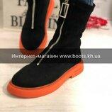 Осень 2019.Luxury замшевые ботинки socks неон.Обувь осень 2019