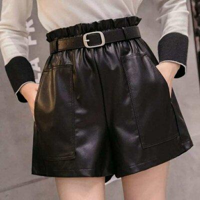 Стильные шорты из искусственной кожи с текстильной основой размеры L-XL