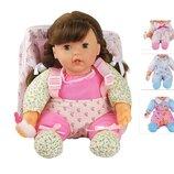 Кукла 9614-2 4 вида,мягкотелая,с бутыл, рюкзак-слинг для ношения куклы, в пакете