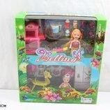 Кукла маленькая 66789 2 куклы в наборе,мебель д/кухни,посудка,конь-качалка