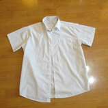 Рубашка белая , короткий рукав на 14-15 лет