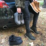 Ботинки мужские, на меху, кожа мустанг, зима