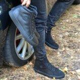 Ботинки мужские, натуральная кожа, на меху, зима, черные