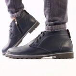 Ботинки мужские, натуральная кожа, на меху, зима, синие