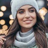 Комплект осень-зима, шапка и шарф хомут