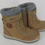 32-37р новые прорезиненные зимние термо ботинки термики сапожки B&G Би джи на овчине