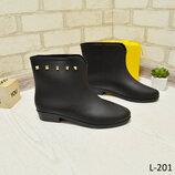 Фирменные резиновые полусапожки Liberty,черные стильные ботинки,сапожки