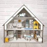 Домик для кукол LOL 2302 Баварский домик с заборчиком. 3 этажа. 5 комнат. С мебелью и текстилем