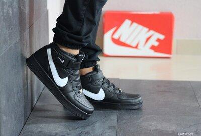 Кроссовки мужские Nike Air Force черные с белым 8439