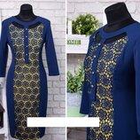 Элегантное платье с кружевом ткань Костюмная пуговки в виде декора 48, 50, 52, 54, 56 размер батал