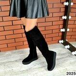 Женские натуральные кожаные замшевые зимние чёрные сапоги ботфорты