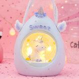 Детский ночник-светильник Единорог. Голубой