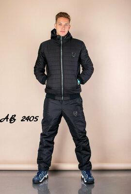 Теплый мужской спортивный зимний костюм на овчине синтепоне синий черный плащевка 48 50 52 54 56 58