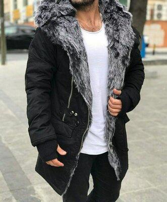 Хит сезона. Топ качество. Стильная мужская куртка зимняя OPEN черная F 600