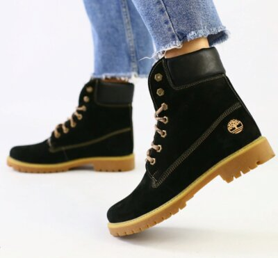 Ботинки T натуральный нубук, зимние, черные