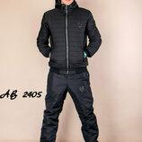 Теплый мужской спортивный зимний костюм на овчине и синтепоне синий черный плащевка