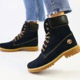 Ботинки T натуральный нубук, зимние, темно - синие