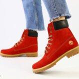 Ботинки T натуральный нубук, зимние, красные