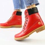 Ботинки T натуральная кожа, зимние, красные