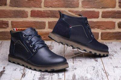Кожаные мужские зимние ботинки Tommy Hilfiger Хилфигеры синие
