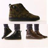 Ботинки мужские, натуральная кожа, зима, черные, коричневые, хаки