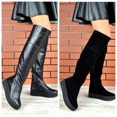 Р.36 37 38 39 40 41 Натуральные женские зимние ботфорты сапоги сапожки зима обувь