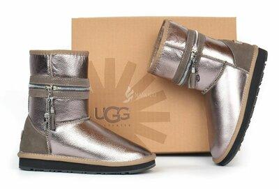 Угги женские кожаные UGG Australia Metallic Bronze зимние сапоги кожа фирменная упаковка