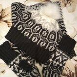 Комплект зимний шапка, снуд, рукавицы