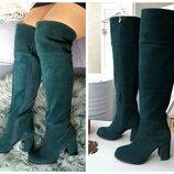 Женские высокие сапоги,ботфорты на каблуке-Натуральная кожа,замш Выбор цвета, материала Зима Деми