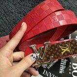 Ремень кожаный в стиле Louis Vuitton, Луи Виттон красный