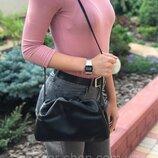 Женская кожаная сумка черная Pouch облако жіноча шкіряна чорна стильная Bottega Veneta пауч