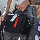 Женская кожаная сумка трансформер Polina & Eiterou чёрная жіноча шкіряна чорна стильная качественна