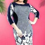 Нарядное платье с цветами на осень,большого размера
