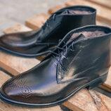Шикарные классические зимние ботинки сапоги туфли полуботинки натуральная кожа и цигейка