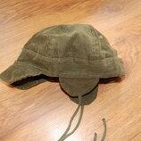 шапка, ушанка, вельветовая, хаки, 48-50