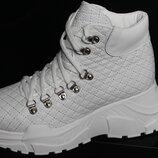 Новинки сезона, женские белые ботинки, кожа натуральная, с 36-41р .