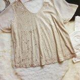 Бежевая телесная блуза футболка нарядная блестящая с золотыми пайетками перевертышами батал