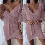 Теплое трикотажное ангоровое платье на запах Flirt с глубоким декольте скл.10 арт.815