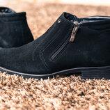 Зимние замшевые мужские ботинки сапоги дерби оксфорды челси на натуральной цигейке